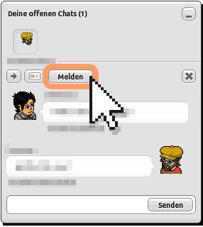Chatnachricht im Chatfenster melden